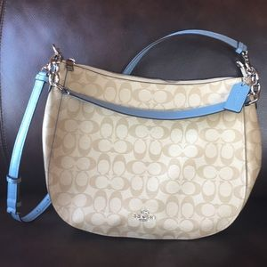 Coach signature hobo in beige and blue canvas